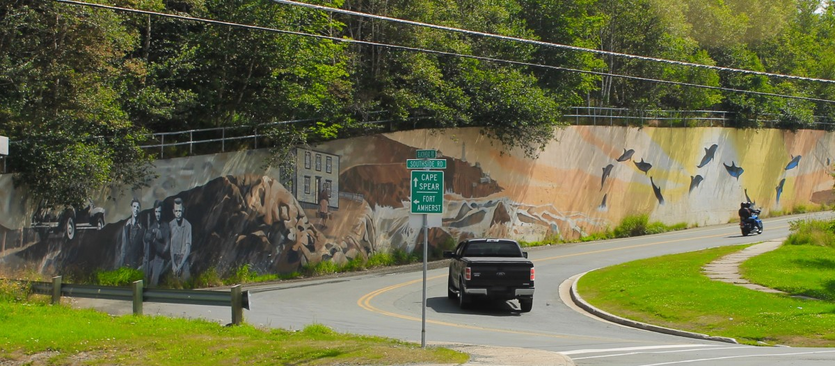 Mural painted on retaining wall along Blackhead Road.