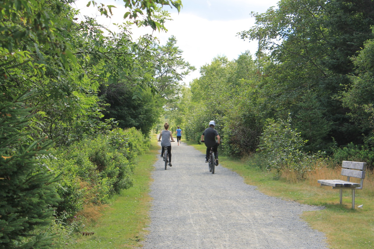 Not just for walkers. Cyclists and joggers enjoying the trail.