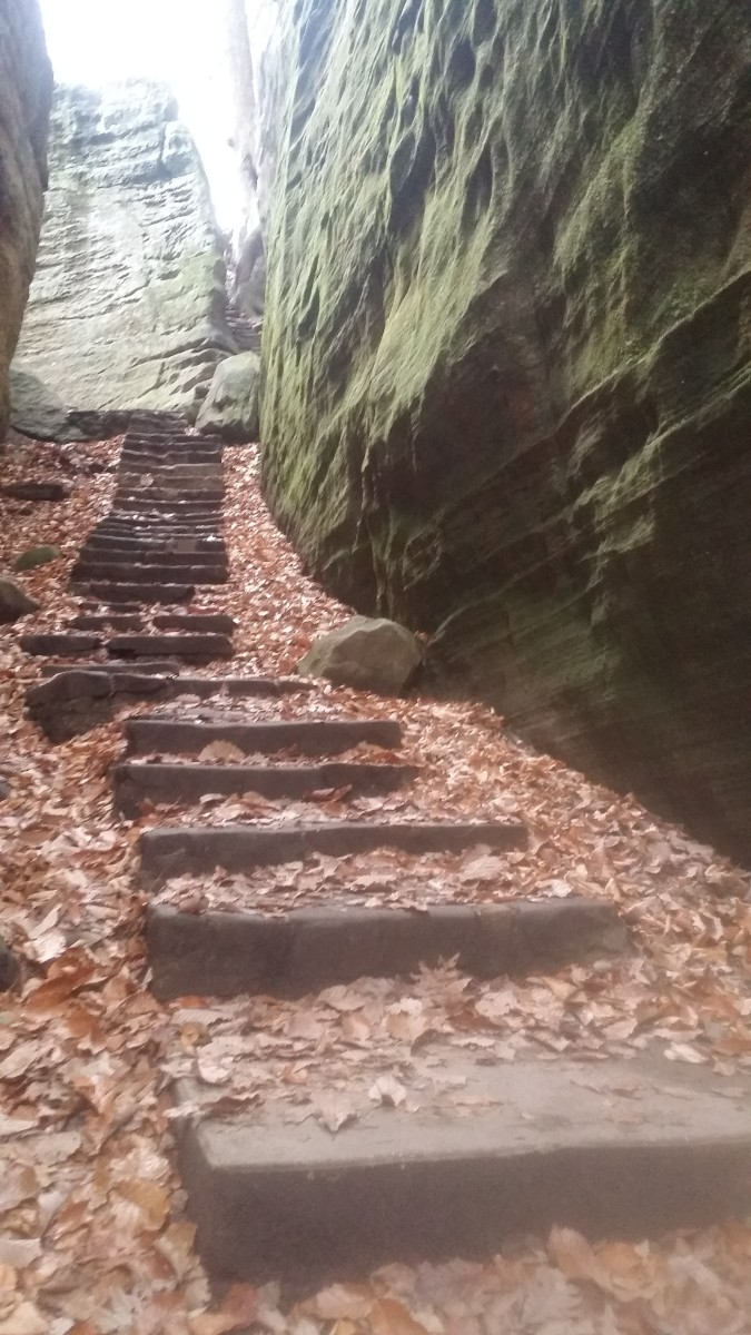 Expect a workout when hiking through Cantwell Cliff or Rock House, both locations have steep trails and, at times, narrow passageways.