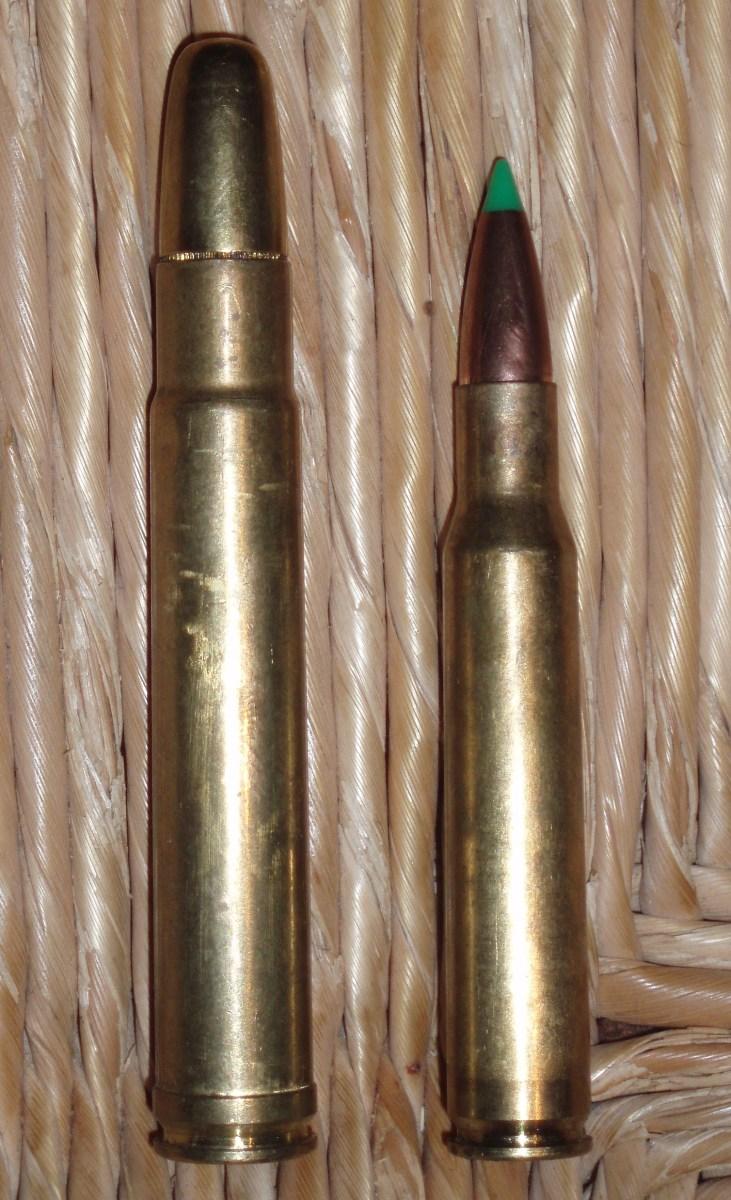 .416 Remington Magnum (L), .30-06 (R)