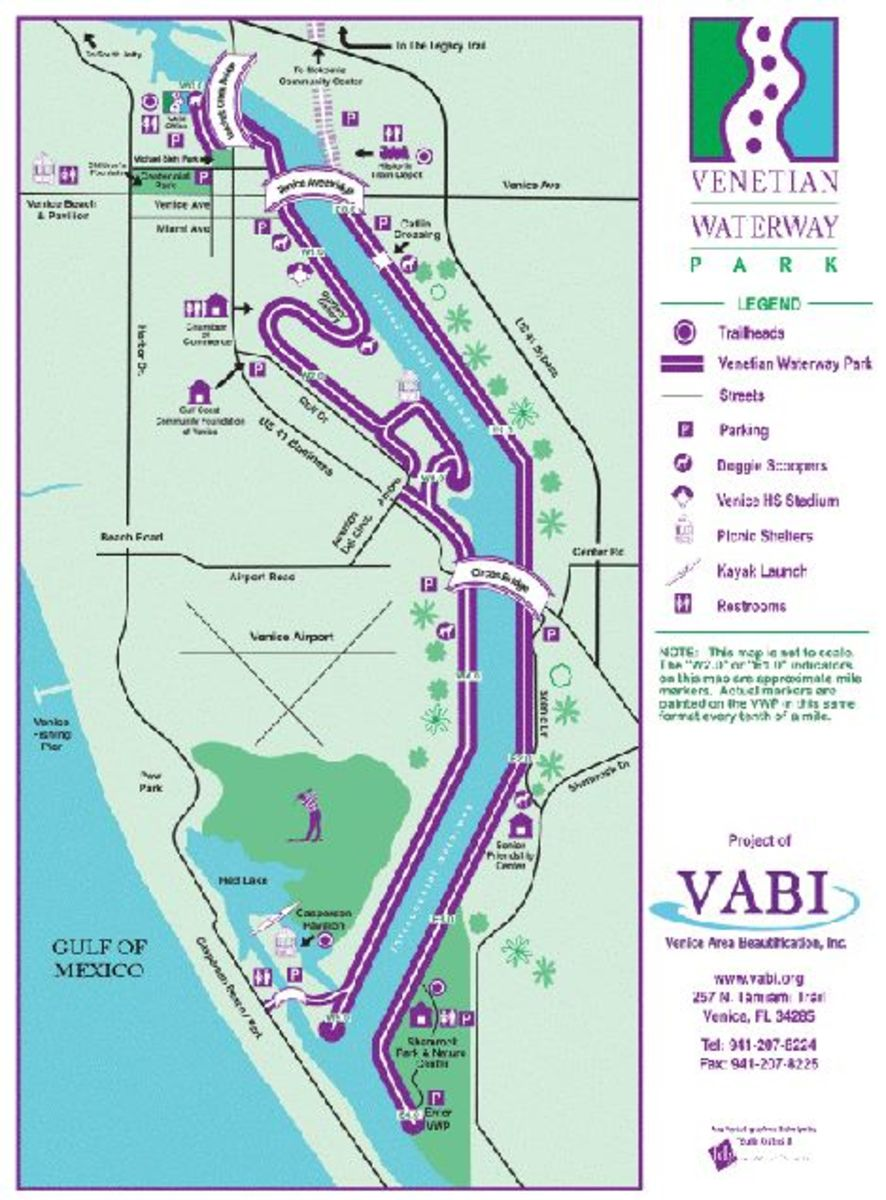 Use this map to navigate. Note, the bikeway is on both sides of the waterway.