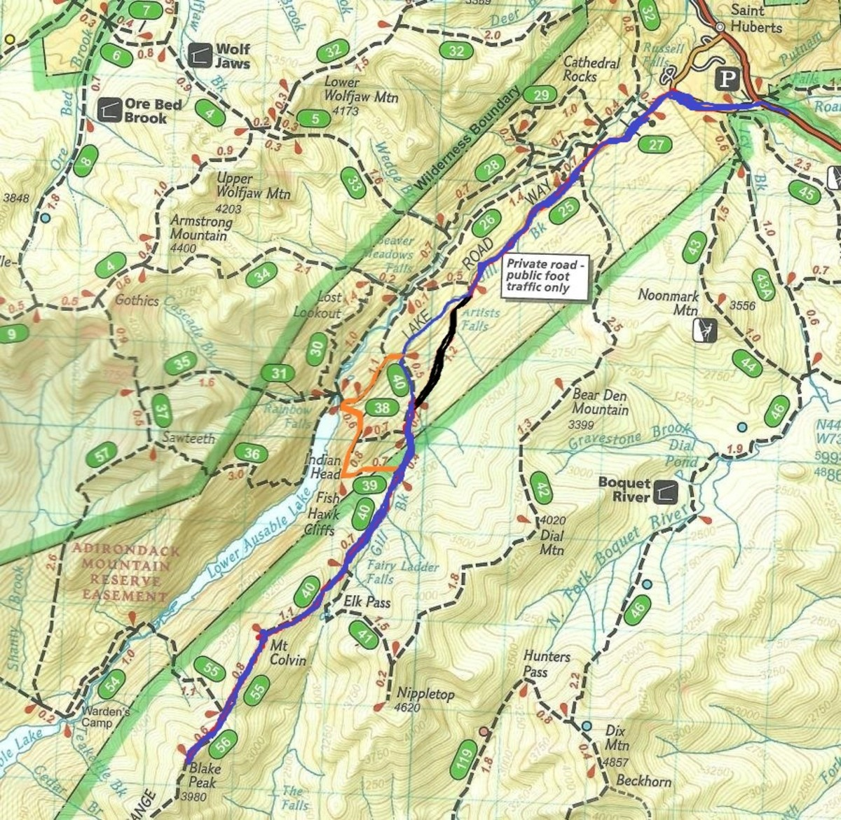 Our Planned Route in Blue, Return in Orange