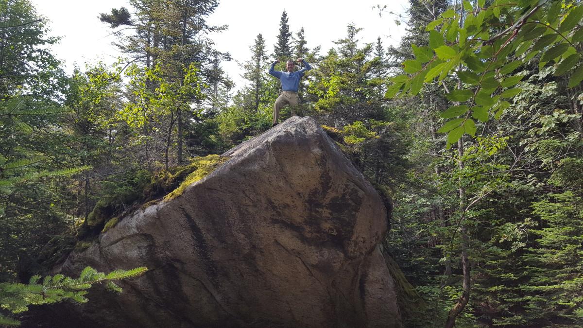 Kory checking the slant of Slant Rock
