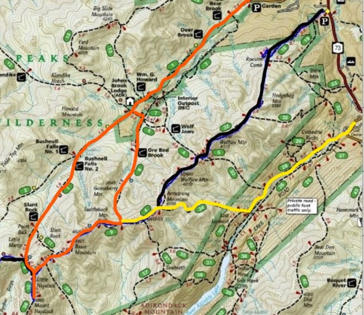 Loop back to Garden in orange, out to St. Hubert's from Saddleback in yellow, black would be the Roostercomb option