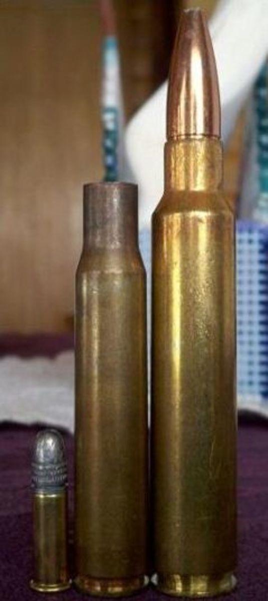 Left to Right: .22 LR, .30-06 case, .338 RUM