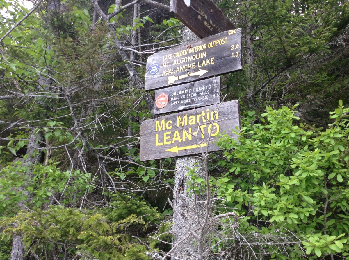 Signage at the end of Lake Colden
