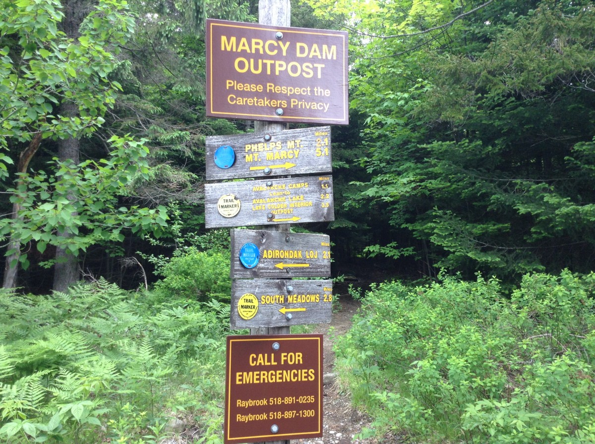 Signage at Marcy Dam