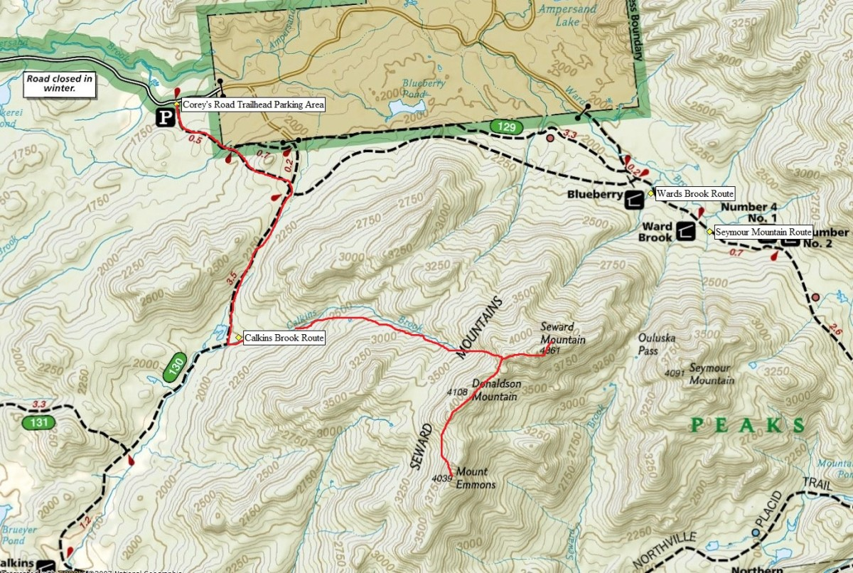 The Overview of the Sewards and Seymour Mountain with our estimated route in red