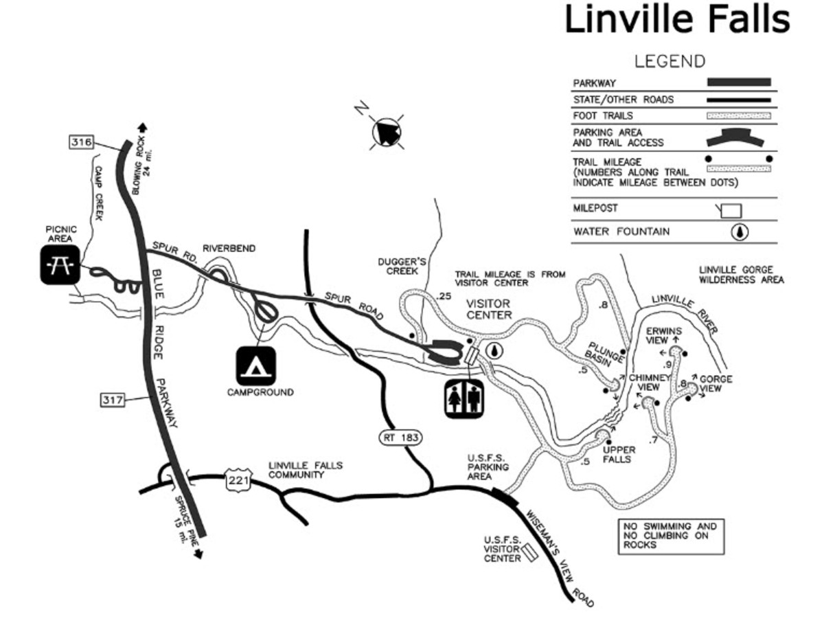 From the website nps.gov, an overview map of the Linville Falls area.