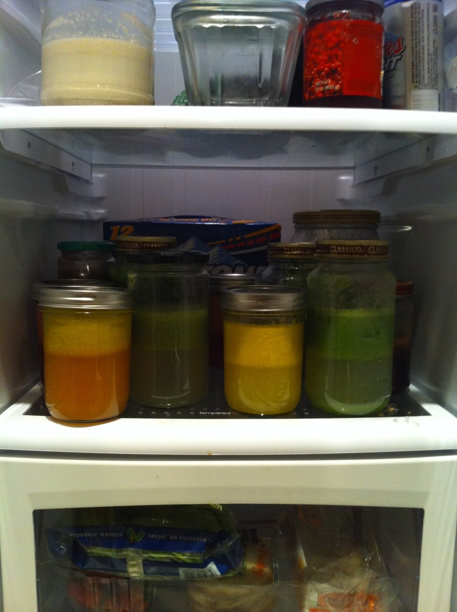 A day's worth of juices in a refrigerator. You can make them the night before, but since these are unpasteurized, they will not keep long.