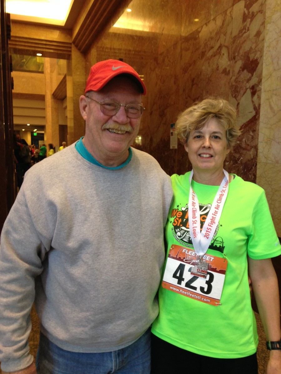 My husband and I at the 2015 stair climb. I made it in 9:06, 0:14 / floor!