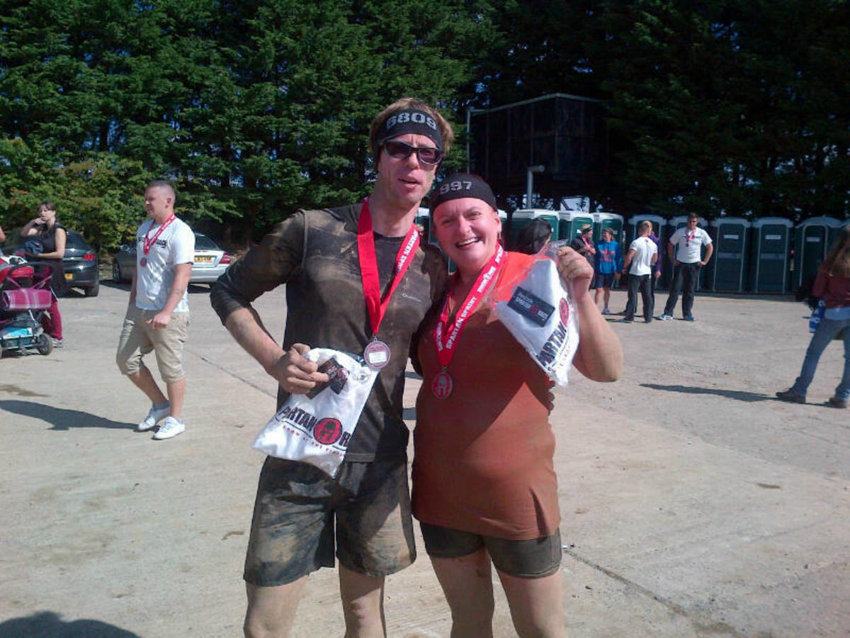 CyclingFitness (Liam) at the finish line of the 2013 Ripon Spartan Race.