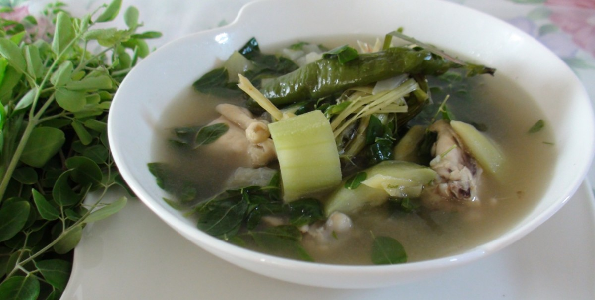 A hot, sumptuous modified chicken soup (tinola) with Moringa leaves.