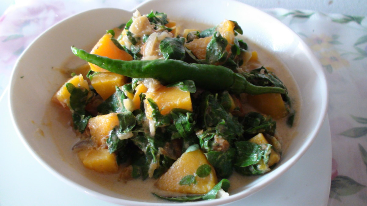 Luscious squash with Moringa in rich coconut milk.