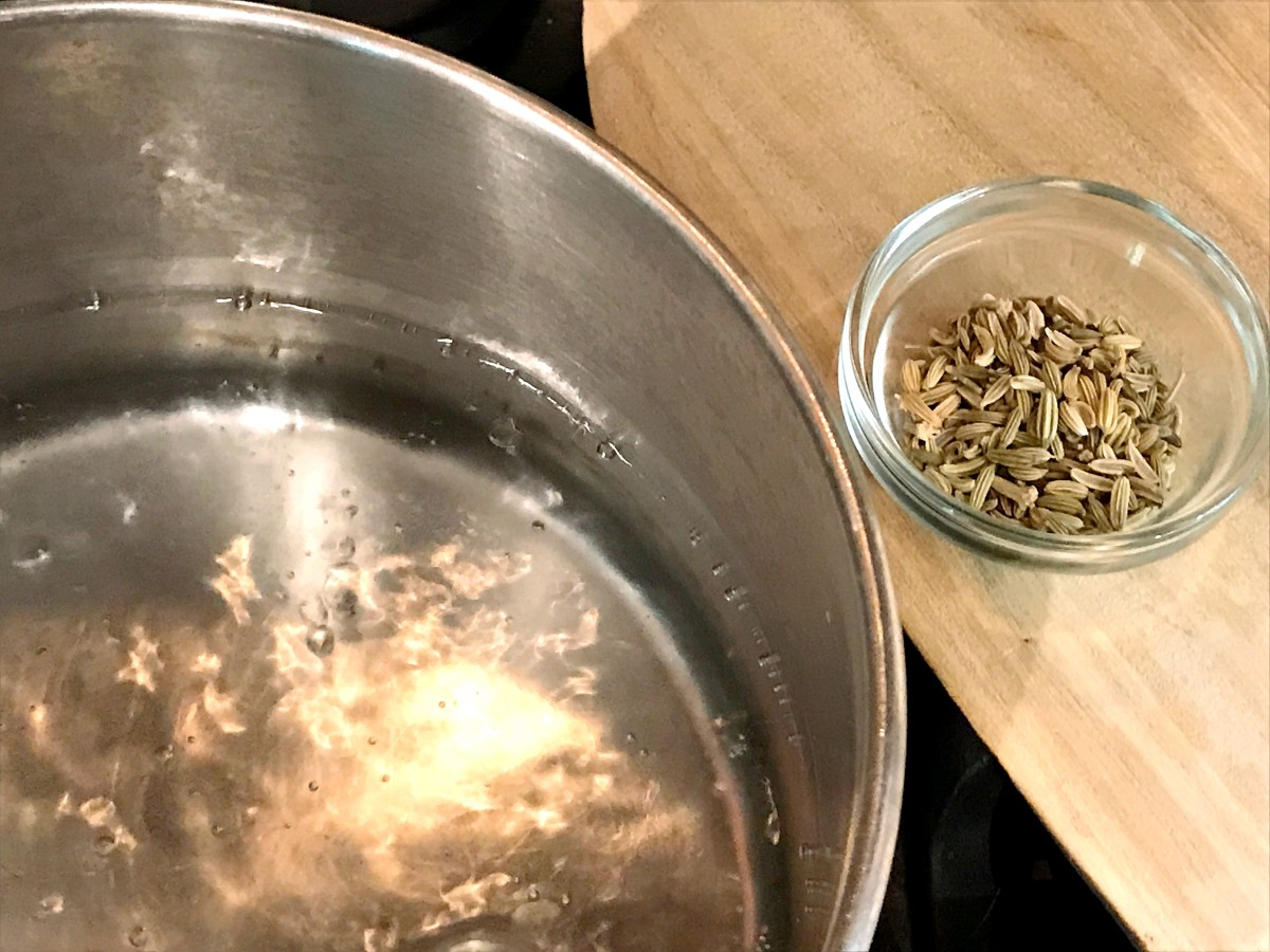 Bring a quart of water to a boil in a heavy pot.