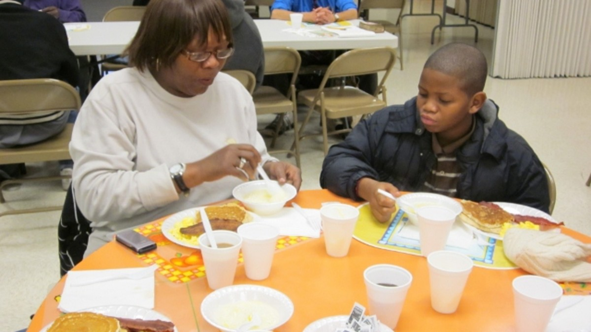Families with young children benefit from a hot, nutritious breakfast which helps curb the food budget.