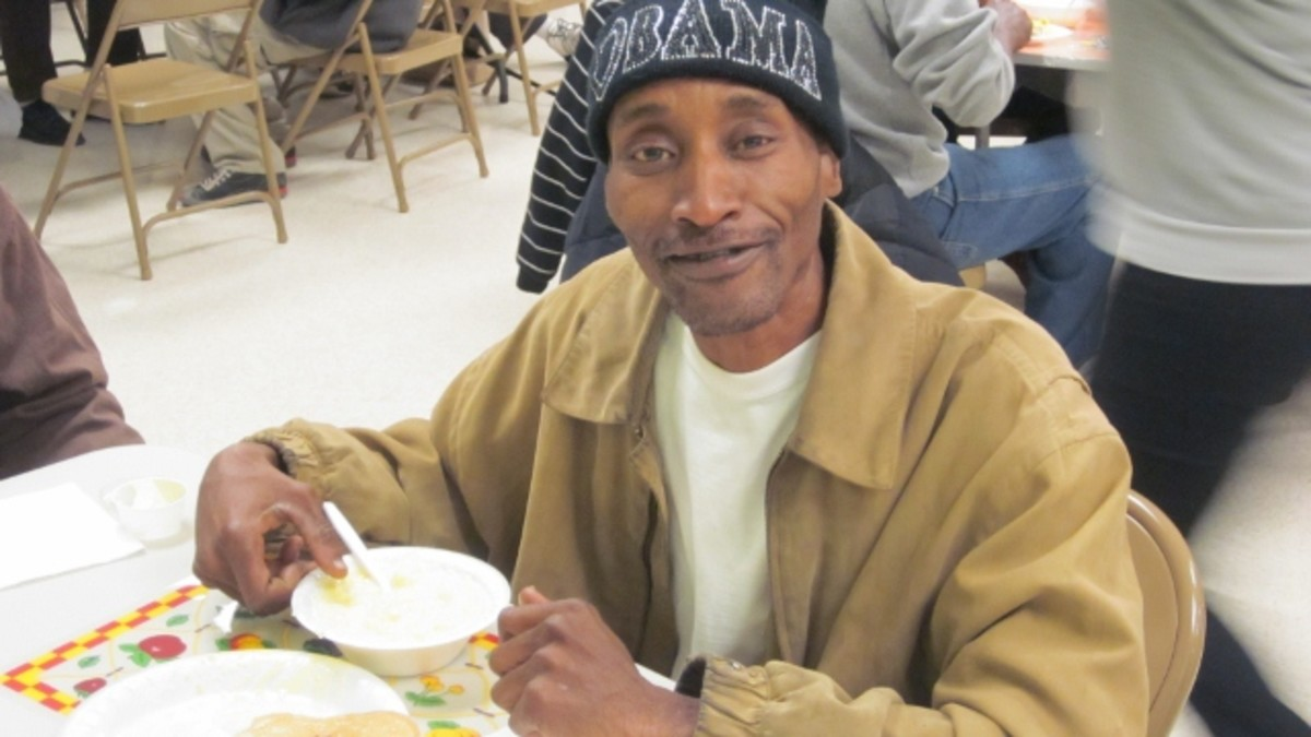 Patrons look forward to a hot meal and the biweekly fellowship.