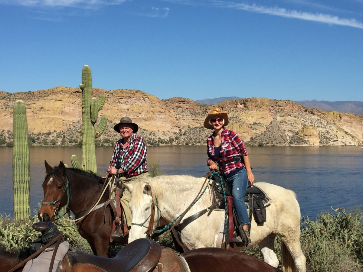 Trail ride with my wife along Salt River on horses rented from Saguaro Lake Ranch Stables in Tonto Nation Forest between Mesa AZ & Saguaro Lake