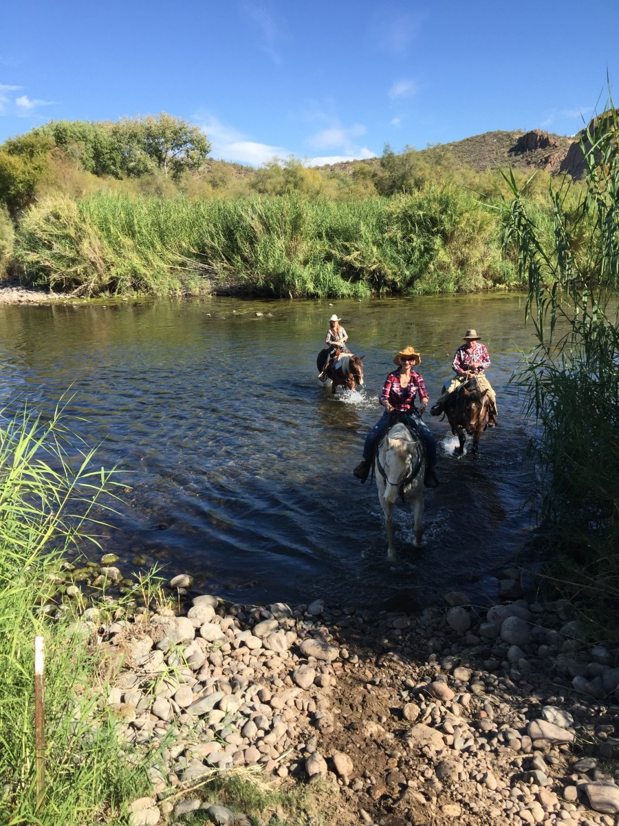 My Wife and I With Trail Guide Crossing Salt River on Horseback. Visited Saguaro Lake Ranch Stables which provides horses and guides for trail rides along Salt River.