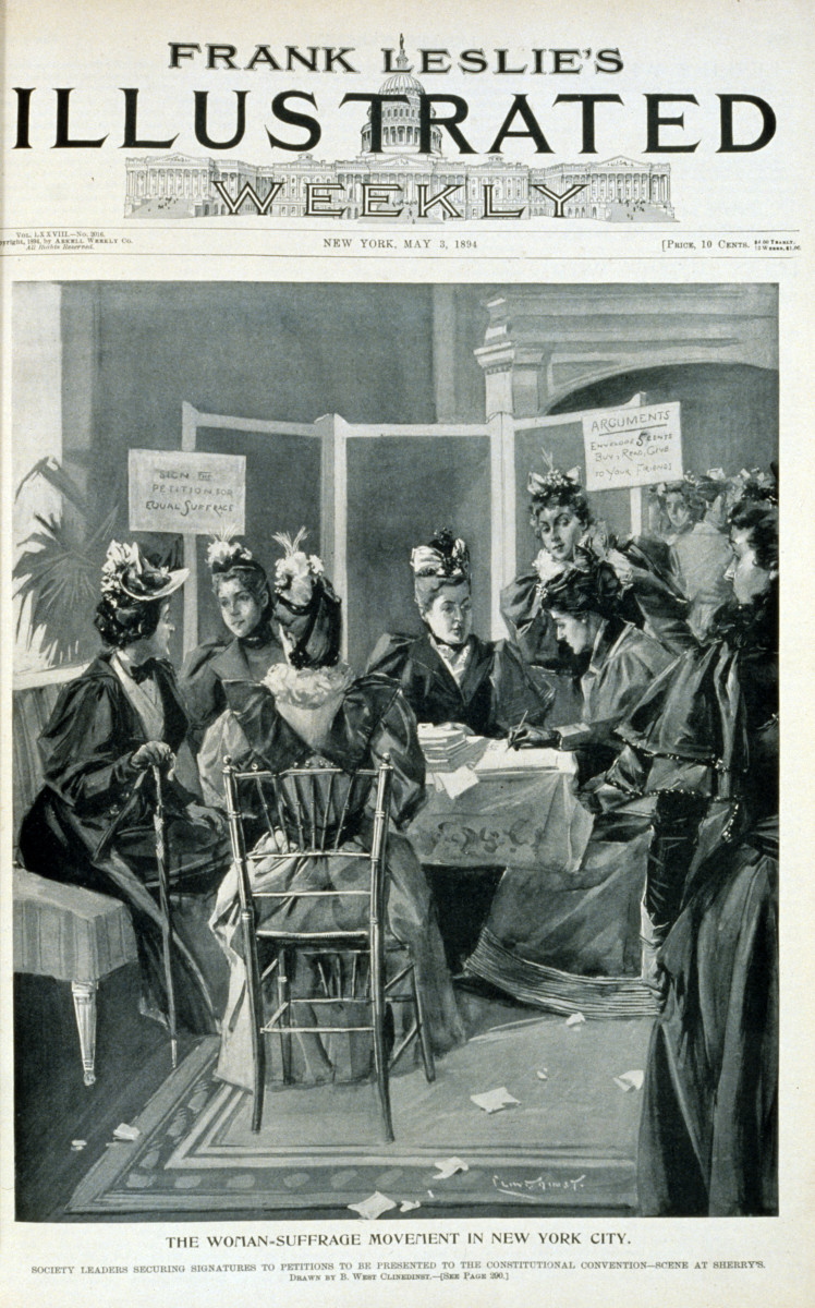 The woman-suffrage movement in New York City. Society leaders securing signatures to petitions to be presented to the constitutional convention - scene at Sherry's. May 3rd, 1894