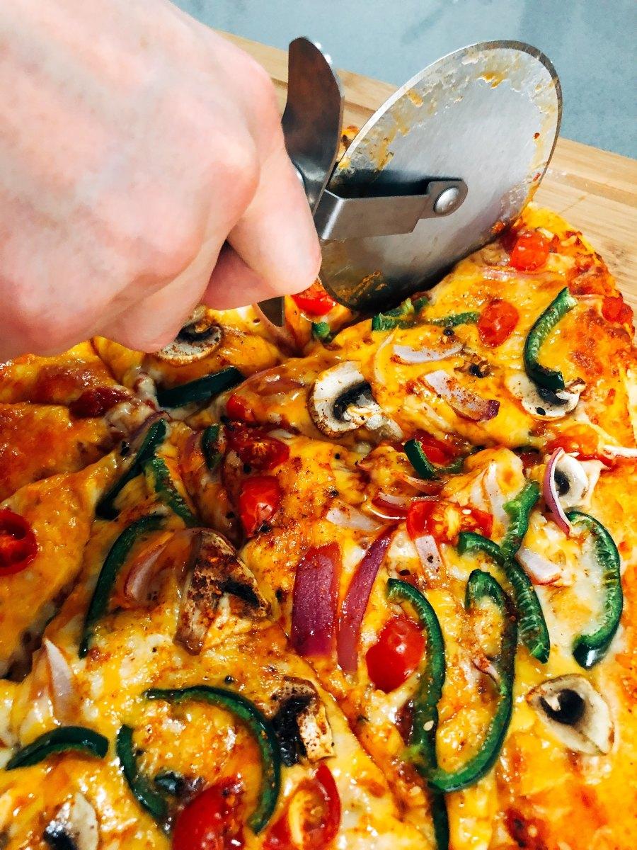 My homemade veggie pizza is delicious!
