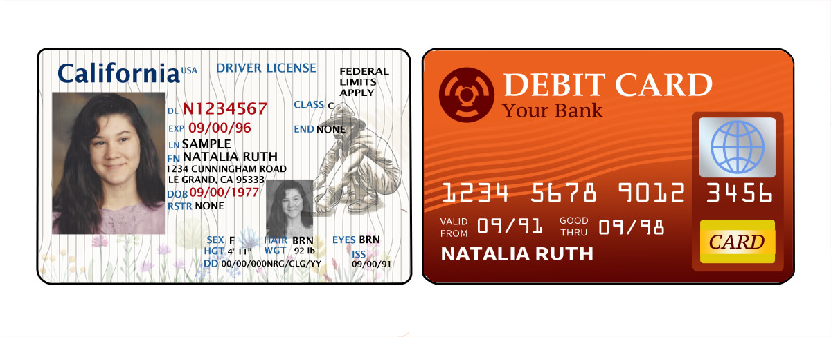 Fake driver's license and debit card