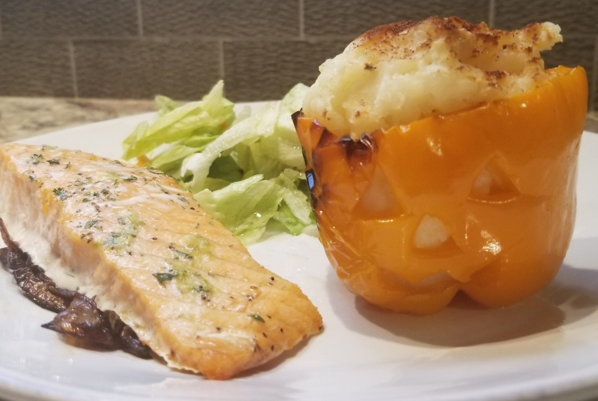 The potato stuffed peppers complement salmon beautifully.