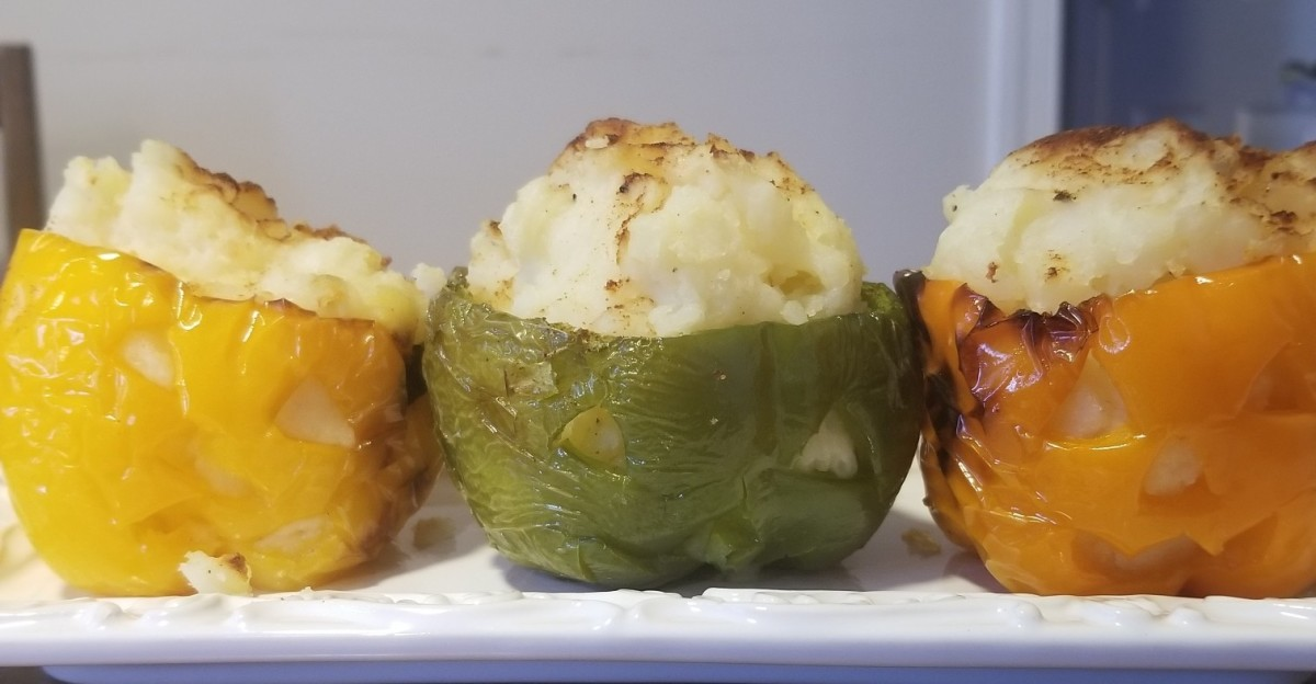 Easy Jack-o'-Lantern Potato Stuffed Peppers for Halloween