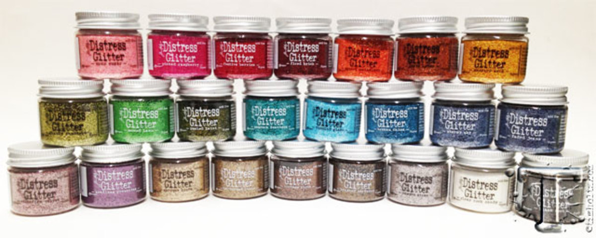 These distress glitters come in all the delightful colors that Ranger is known for.