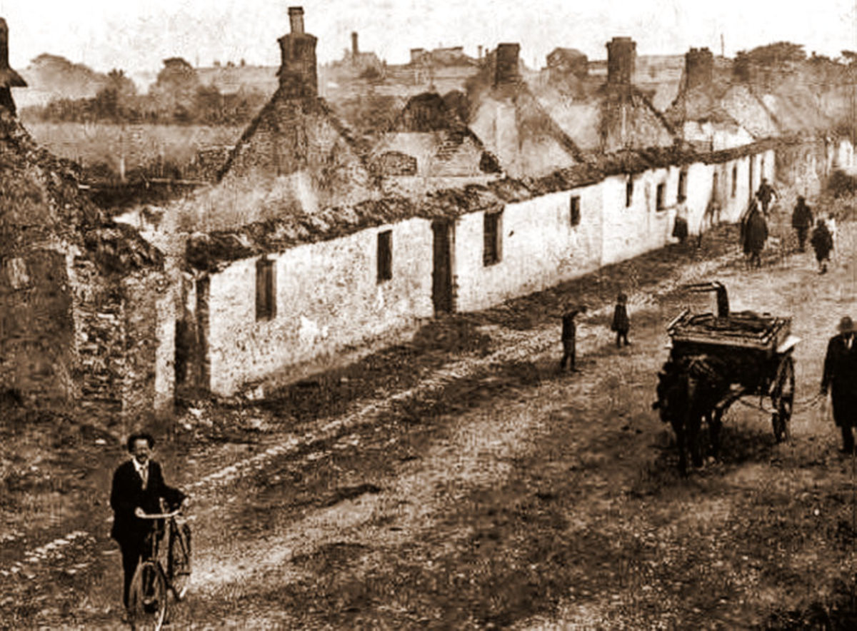 A burnt out Balbriggan after the Black and Tans raided it.