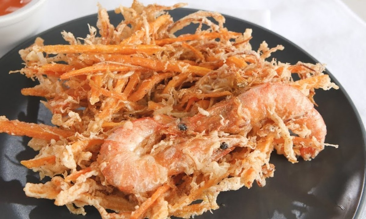 Carrot ukoy with shrimp (Filipino carrot and shrimp fritters)