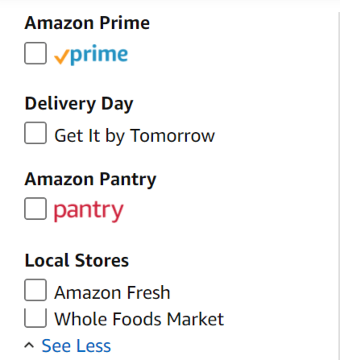 Checking the box next to Pantry, Fresh, or Whole Foods Market makes it easier to shop for items that quality for $35 free shipping