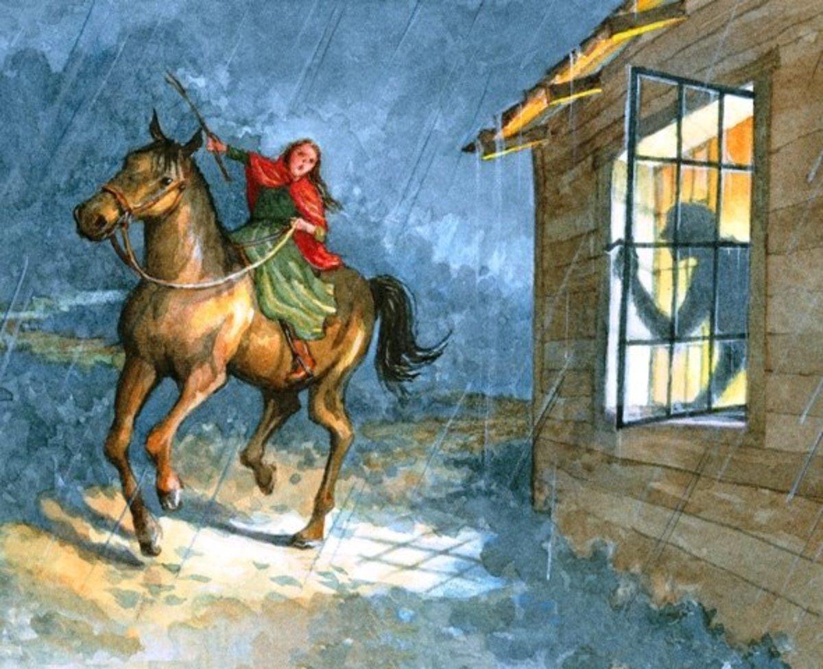 Artist depiction of Sybil Ludington's ride