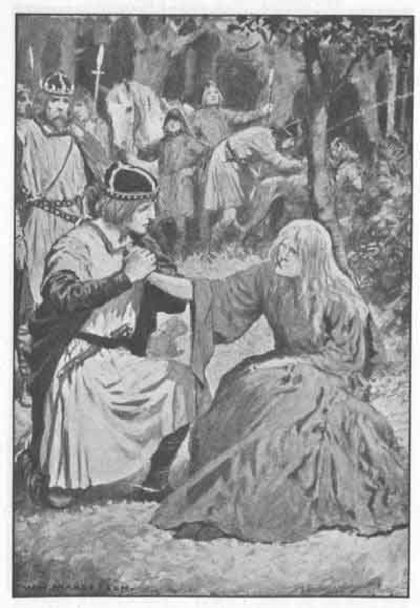 In Arthurian legend, Sir Gawain marries the loathly lady as told in the 15th-century poem The Wedding of Sir Gawain and Dame Ragnelle.
