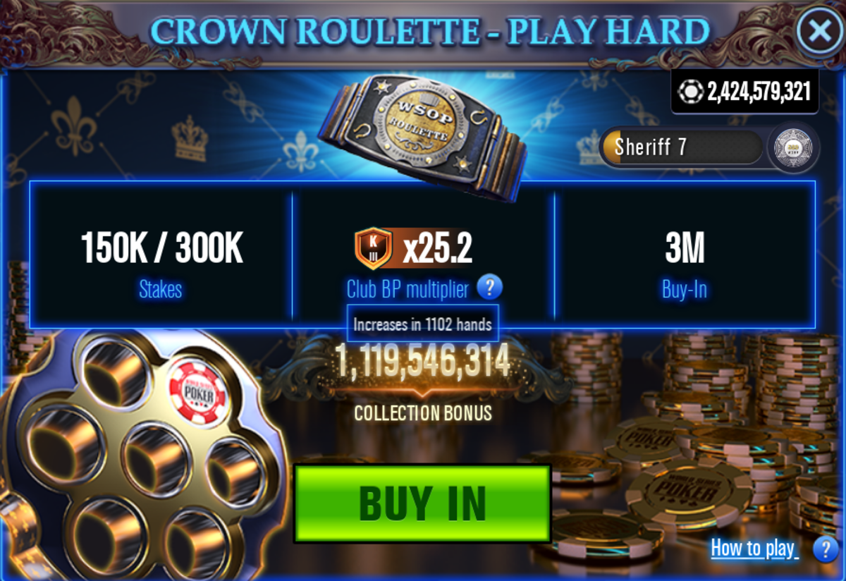 The Crown Roulette stakes selection screen.
