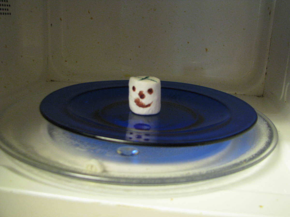 Marshmallow Face on a plate. He doesn't know what is going to hit him.
