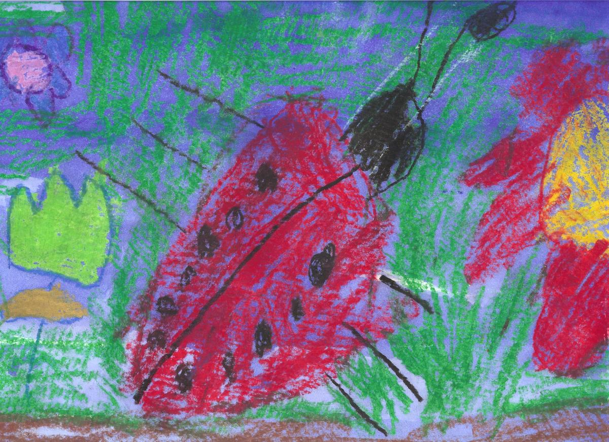 Crayon Resist-Colored Garden: Have child draw a picture using lots of colors.  This one is a kindergarden picture of a ladybug in leaves.  Ask them to fill the whole paper.  Then they will watercolor over in one color--often blue or black.