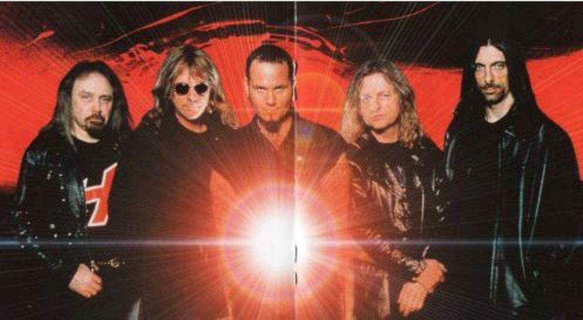 "L-R: Ian hill, Glenn Tipton, Tim ""Ripper"" Owens, K.K. Downing, Scott Travis"