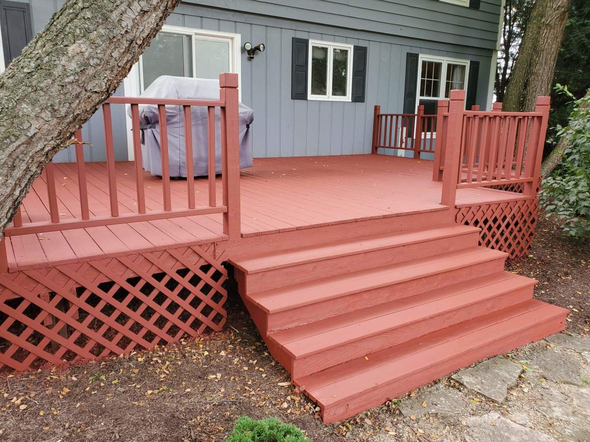 One of my deck staining projects. The color is called Brick.