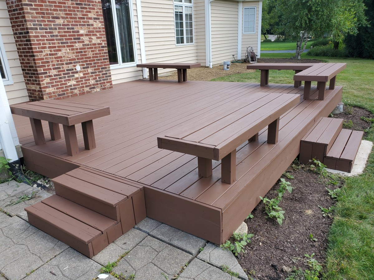 A deck I stained with Super Deck solid stain (Sherwin Williams). The color is Espresso.