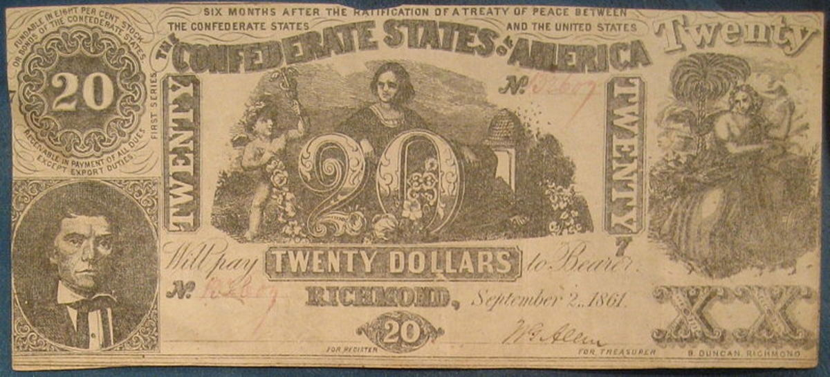1861 $20 Banknote from the Confederate States of America.