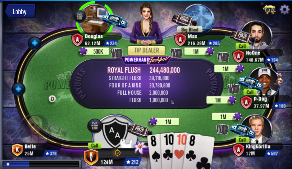 The game shows you how many chips you win with certain hands during Powerhand Jackpot events.