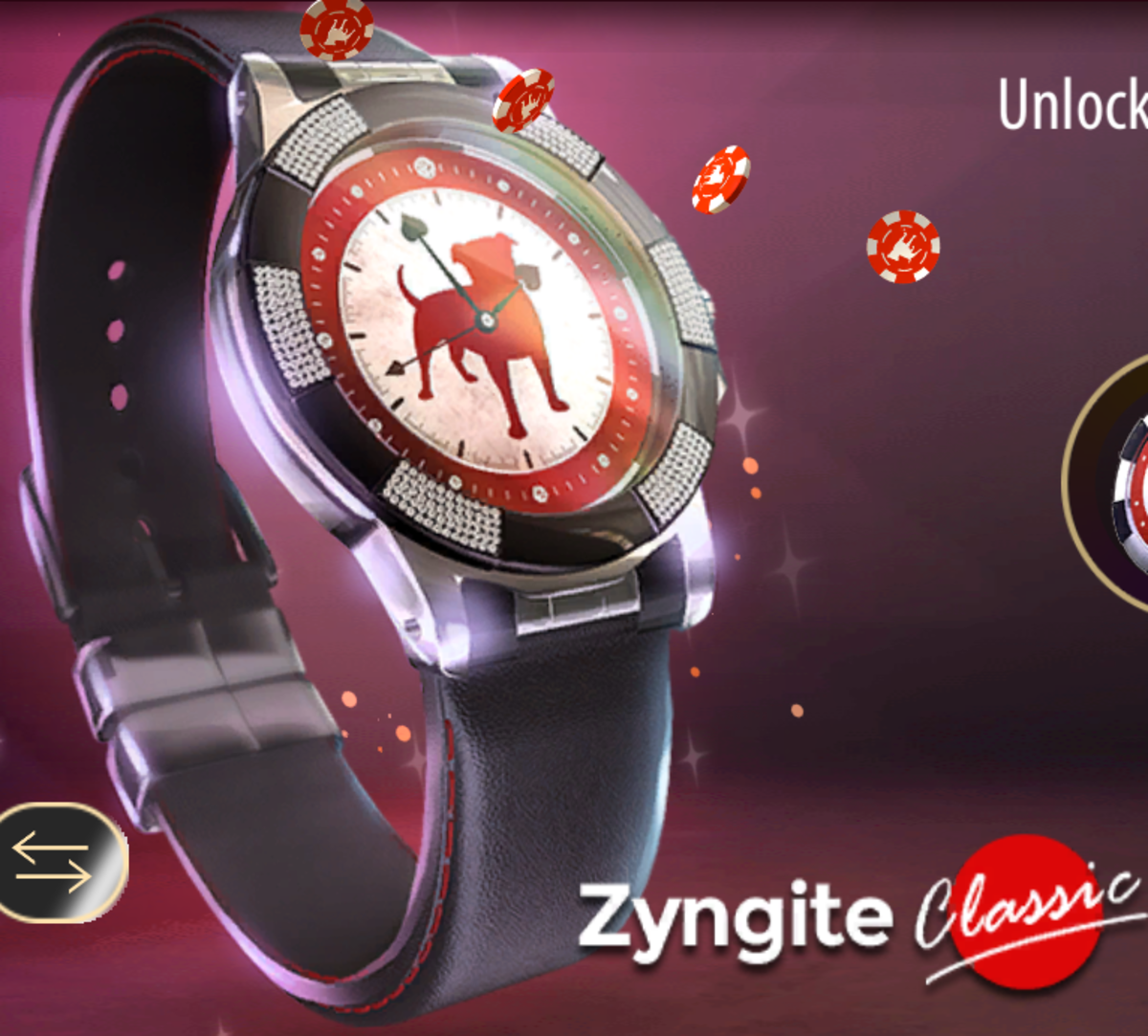 This is the black version of the first poker watch. This is the Zyngite Classic watch.