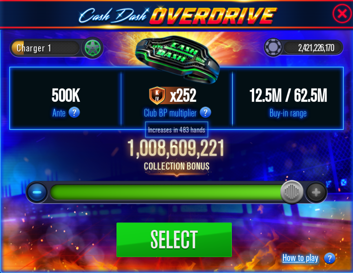 """This is the """"WSOP"""" Cash Dash Overdrive stakes selection screen."""