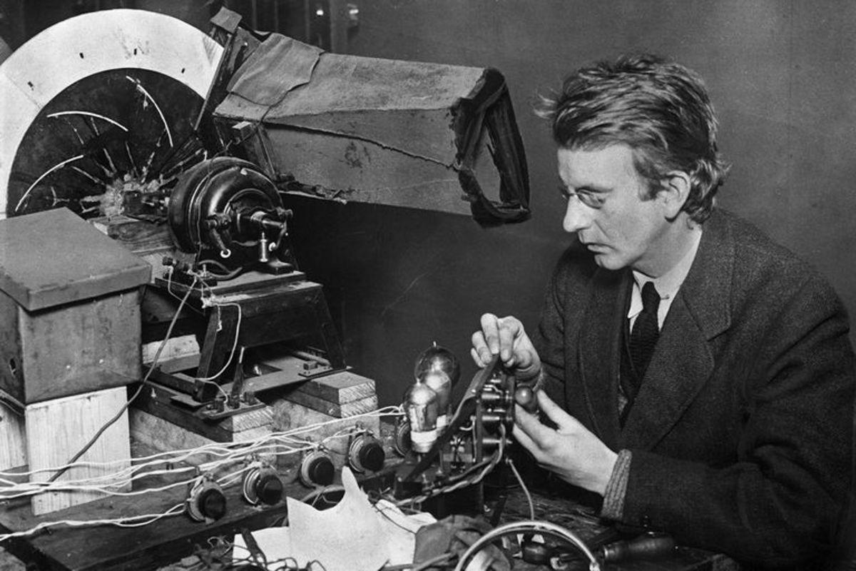 John Logie Baird in his workshop.