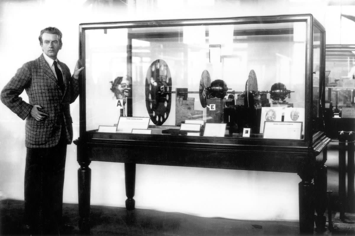 John Logie Baird showing the device used for the first color television transmission.