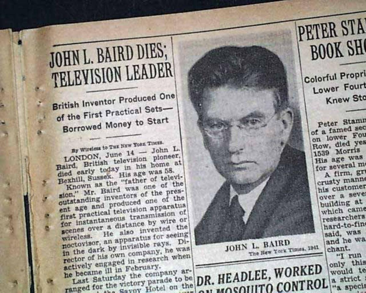 Newspaper article about John Logie Baird's death.