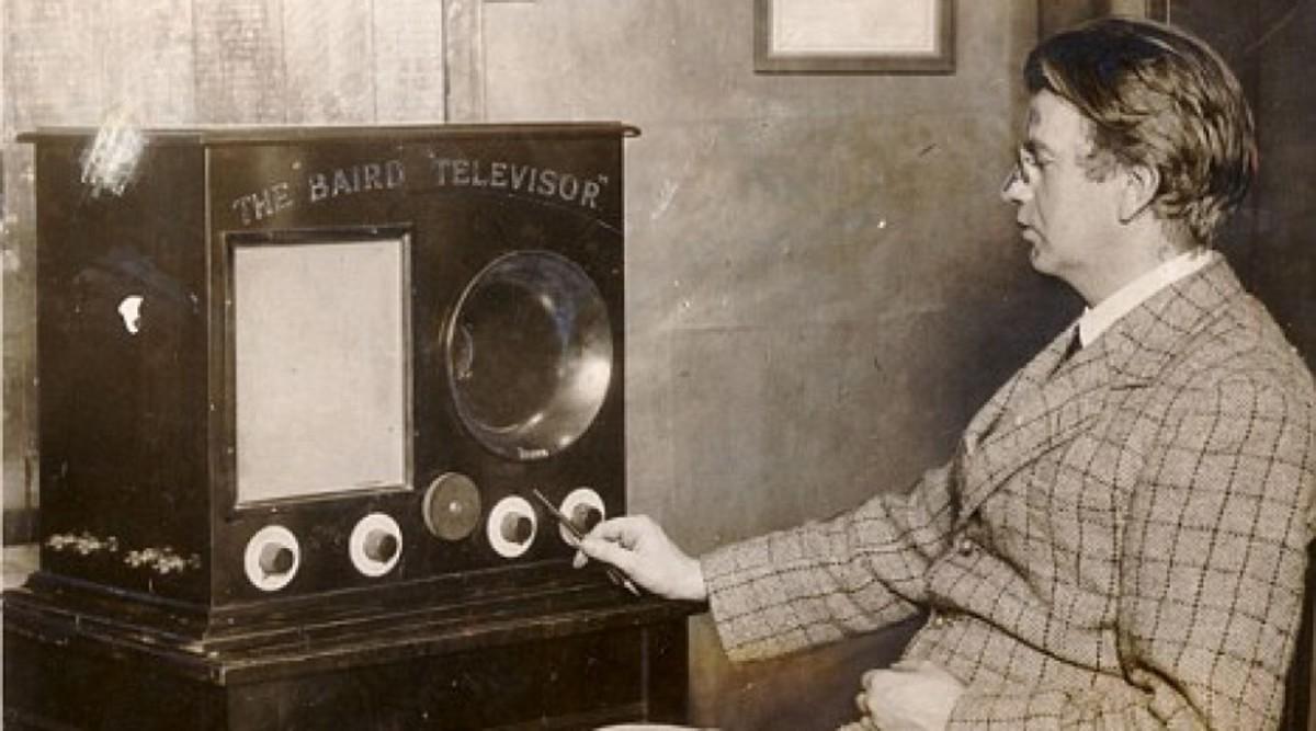 John Logie Baird during a television broadcast transmission.
