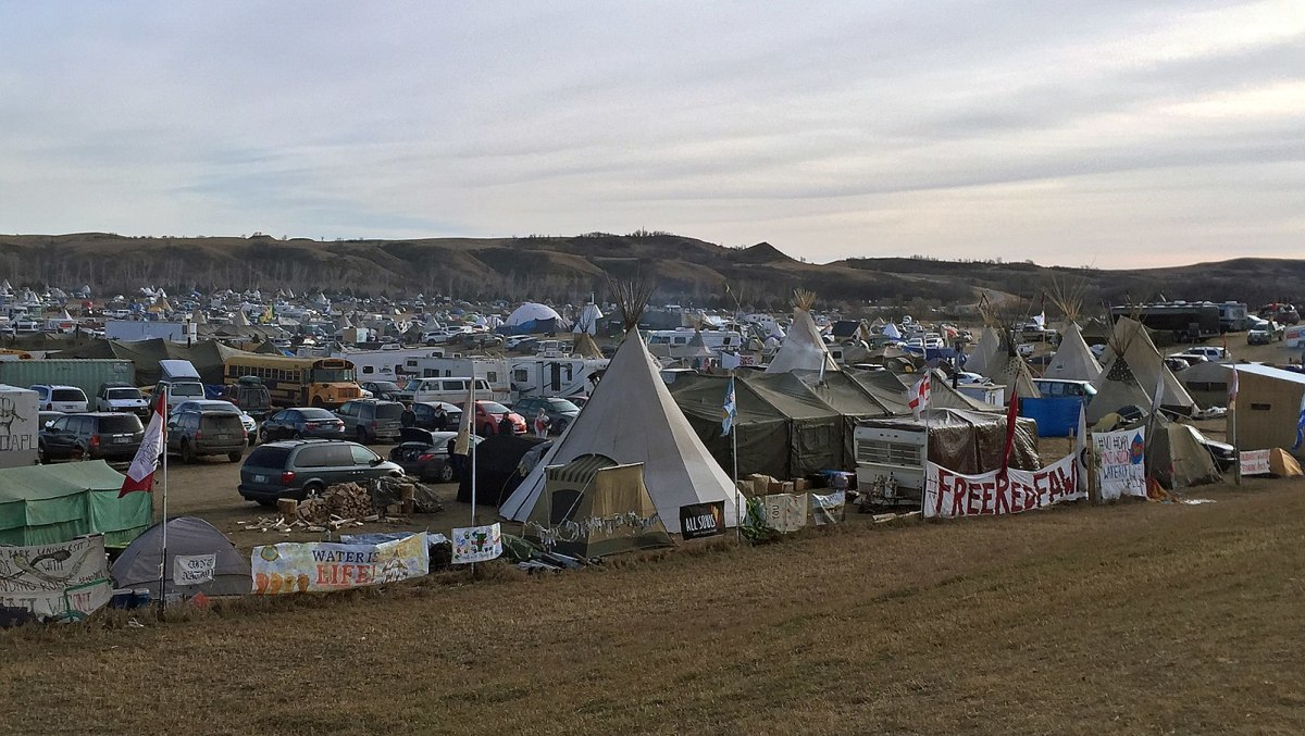 This is the Oceti Sakowin Camp, site of the Standing Rock Dakota Access Pipeline protests.