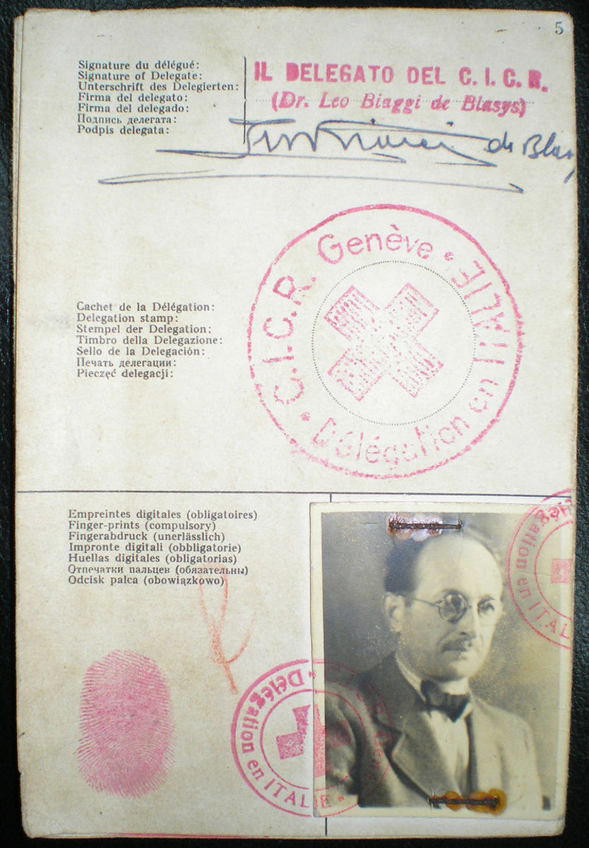 False travel documents issued to Adolf Eichmann with the help of the Catholic Church. He was captured in Argentina in 1960 by Israeli agents, found guilty of war crimes and executed.
